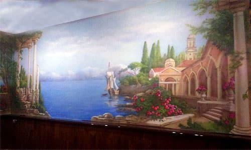 Аэрография стены в кафе