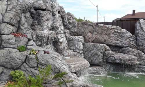 Оформление ландшафтного водопада