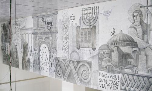 Роспись стены торгового центра