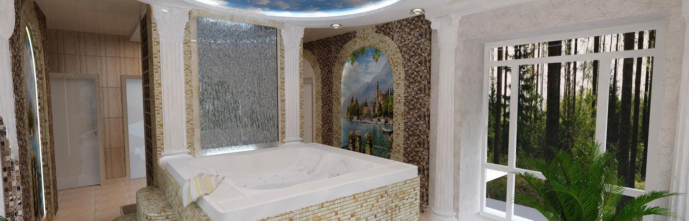 Декоративный водопад в ванной